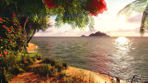 Beautiful trees, grasses, mountains in the distance, a lake with fresh water in the wild jungle of Animation