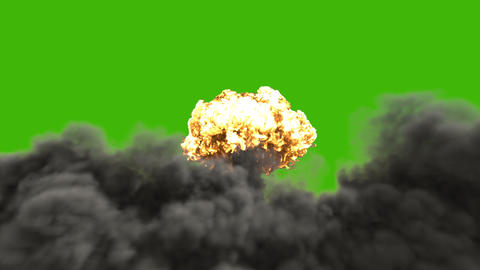 The explosion of a nuclear bomb. Realistic 3D animation of atomic bomb explosion with fire, smoke Animation