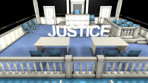 Court justice room, text background Animation