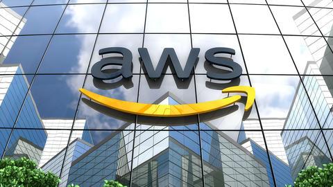Editorial, Amazon AWS logo on glass building Animation