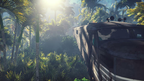 The abandoned train in the jungle in the middle of palm trees and tropical vegetation Animation
