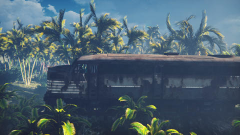 The abandoned train in the tropical jungle in the middle of palm trees and tropical vegetation Animation