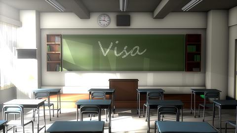 Classroom black board text, Student Visa Animation