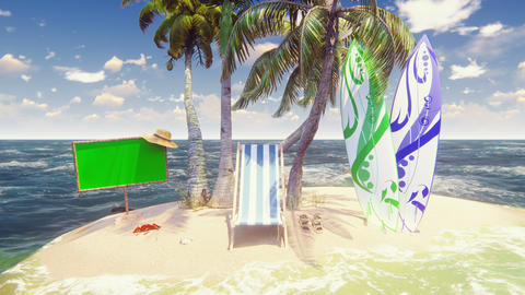 Beautiful wild island, beach and palm trees, white sand and blue sky, beach chair, surfboards and Animation