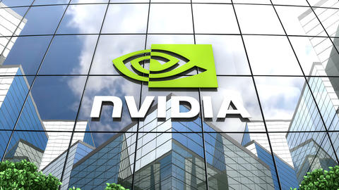Editorial, Nvidia logo on glass building Animation