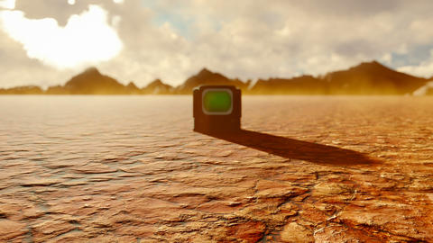 Vintage TV with green screen in the middle of the Apocalyptic desert. Post-Apocalypse, global Animation