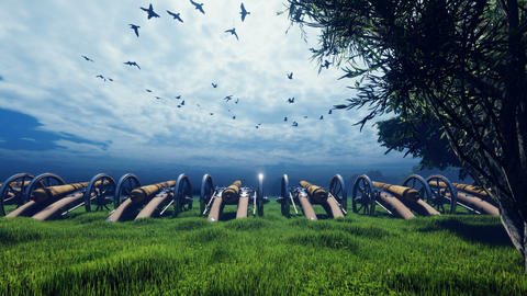 Medieval cannons in the field, in the middle of green grass, on a cloudy day, before the battle. Animation