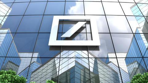 Editorial, Deutsche Bank AG logo on glass building Animation