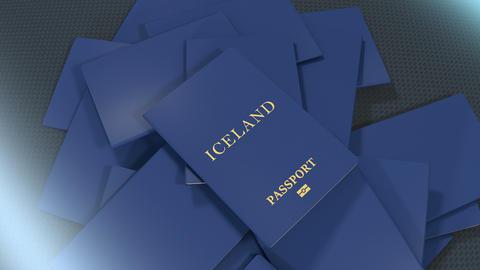 Artist rendering Iceland travel passport Animation