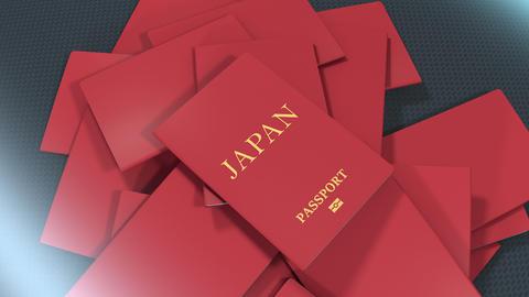 Artist rendering Japan travel passport Animation