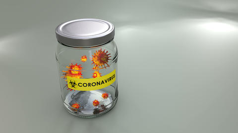 Concept animation, virus cells contained in a jar Animation