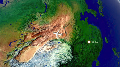 Flight from Wuhan to London. Air travel animation Animation