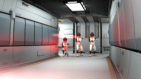 Space cyborg trooper shooting action in sci-fi corridor Animation