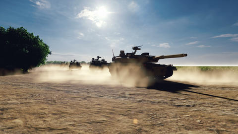Military tanks ride on a dusty road on a Sunny day on the battlefield Animation