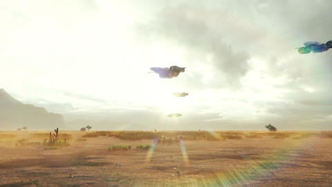 Spacecrafts travel over an alien desert planet. The concept of space Animation