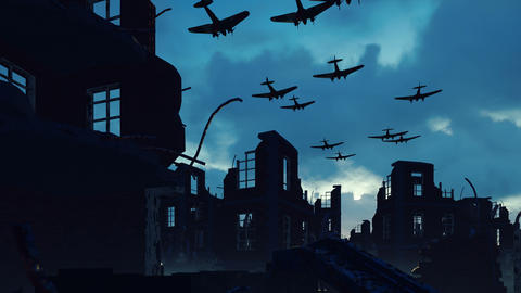 An Armada of military aircraft flies over the ruins of a ruined deserted city Animation