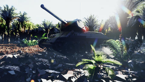A military tank stands on the ruins in a deserted tropical jungle, and an Armada of military Animation