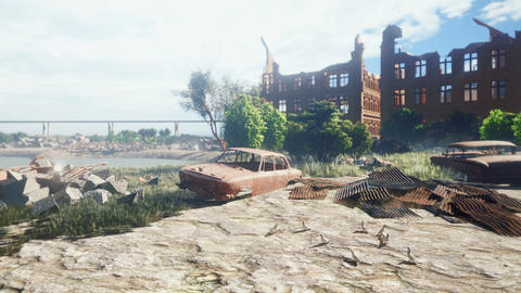 An abandoned desolate land. A wasteland of rusty abandoned cars and abandoned houses. Piles of Animation