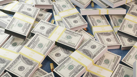 A lot of dollar bills in one heap along with gangster mafia bullets. Gangster wealth and deadly Animation