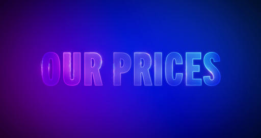 Our Prices. Electric lightning words. Logotype Animation
