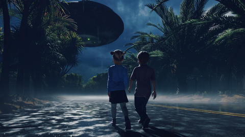 A little boy and girl at dusk walk along the wet highway, over which an alien UFO flies. For sci-fi, Animation