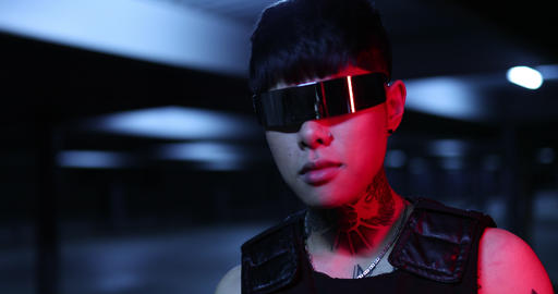 Futuristic style of the future. Neon city Live Action