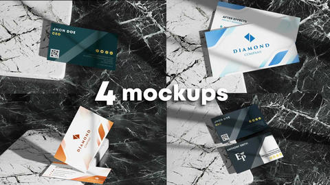 Business Card Mockups 4 In 1 After Effects Template