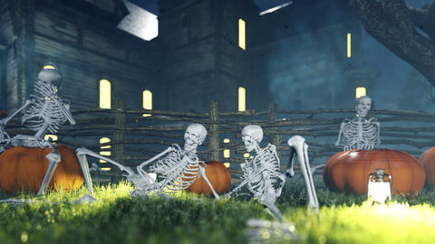 Halloween background animation with the concept of creepy skeletons and old creepy mansion Animation