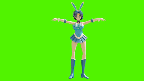 Dance animation of a beautiful cartoon girl. Girl in anime style. High quality and seamless loops on Animation