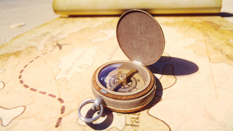 Pirate compass on the Treasure Map lying on the sand on the island of pirates. Vintage beautiful Animation