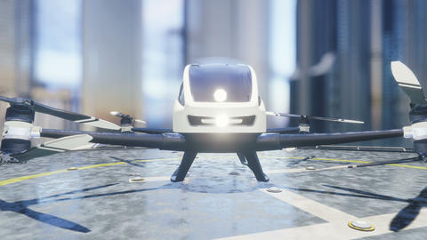 Pilotless passenger air taxi makes a departure for the call of the client. The concept of the future Animation