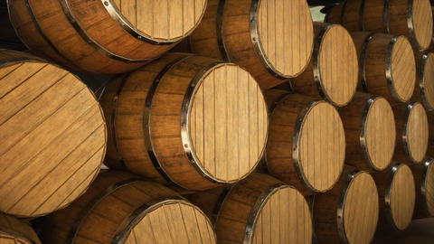 Warehouse with wooden barrels for wine, whiskey or other alcohol. Wooden big barrels lie in several Animation