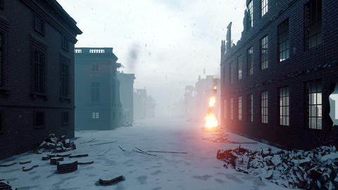 Apocalypse city in the snow. The camera flies through the ruined city. Deserted post-apocalyptic Animation