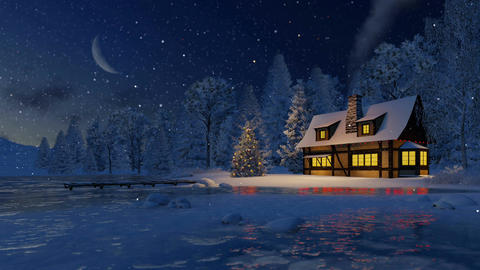 Illuminated rustic house and christmas tree at night Footage