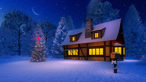 Illuminated christmas tree and rustic house at snowy night Footage