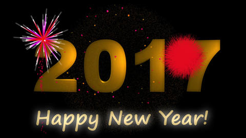 Happy new year 2017 gold text with fireworks Animation