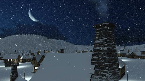 Snowbound village at snowfall winter night Animation