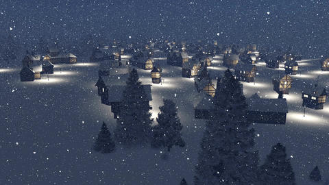 Dreamlike township at snowfall winter night Aerial view Animation