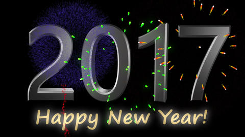 Happy new year 2017 metalic text with fireworks Animation