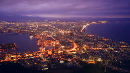 Night view of Hakodate, Hokkaido, Japan Footage
