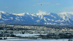 View of Obihiro and mountainscape, Hokkaido Japan Footage