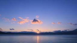 Sunset at sea in Hokkaido, Japan Footage