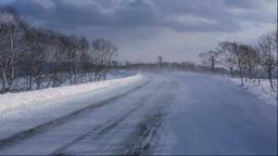 Snowy road in Hokkaido, Japan Footage