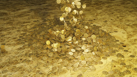 Pirate doubloons fall from above in one heap. Pirate riches and treasures Animation