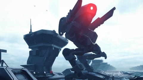 A huge military robot on a futuristic military training ground of the future. The apocalyptic view Animation