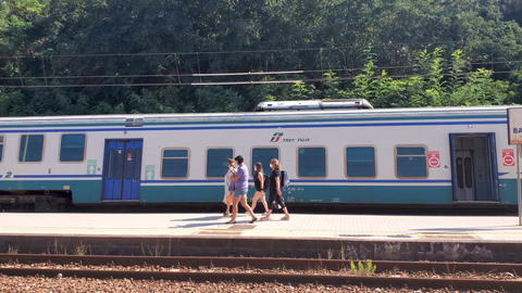 People passengers get off from train with protective masks,coronavirus transport Live Action