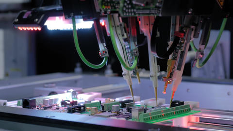 Flying probe test at factory - quality testing of printed circuit boards Live Action