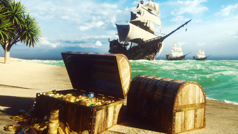 Pirate frigates docked near a tropical island. Pirate island and treasure chests. Sand, sea, sky, Animation