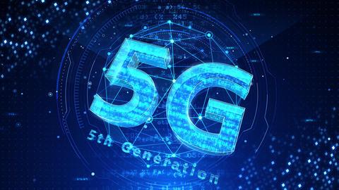 5G Digital Network technology 5th generation mobile communication concept background 519 blue 4k Animation