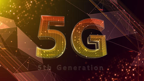 5G Digital Network technology 5th generation mobile communication concept background 530 red 4k Animation